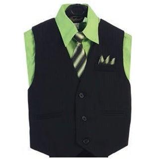 Angels Garment Lime Green 4 Piece Pin Striped Vest Set Boys Suit 2T-4T