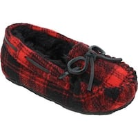 Minnetonka Girls' Cassie Slipper Red Plaid Fleece