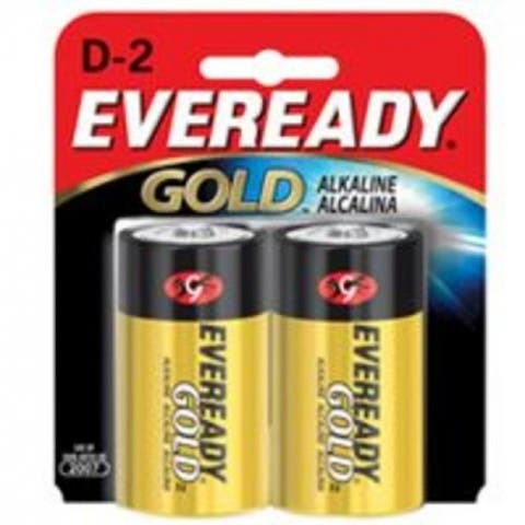 Eveready A95BP-2 Gold Alkaline Battery, D, 1.5 Volt