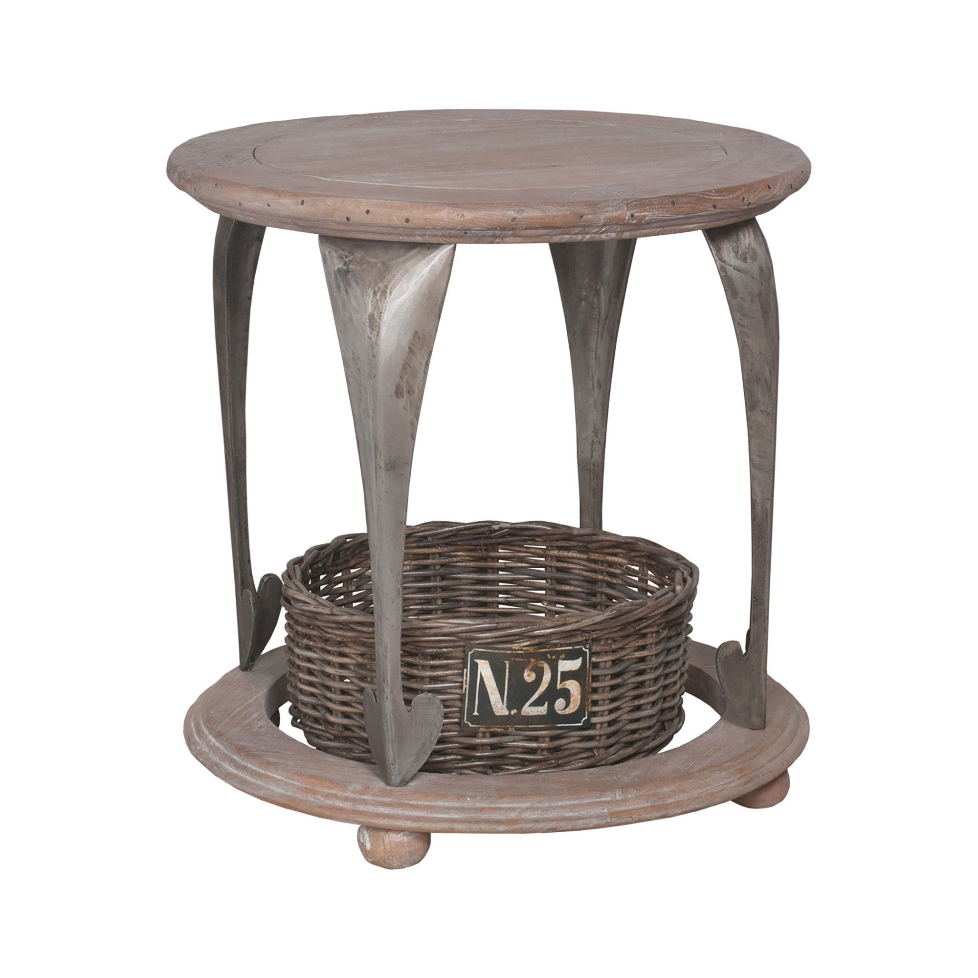 Guildmaster 711017 Gothic 30 Wide Accent Table With Wicker Basket Aged Metal