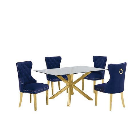 Best Quality Furniture Gold Dining Set w/ Tufted Wingback Chairs