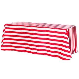 "Stripe Satin Rectangular Tablecloth 90x132""  - Red & White"