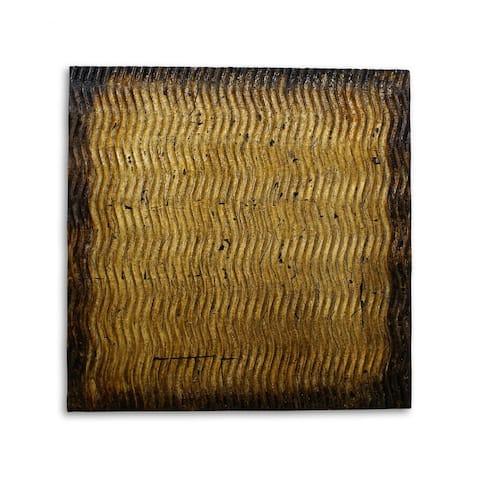 Raw Wood Look Gold Finish Square Wall Art Medium