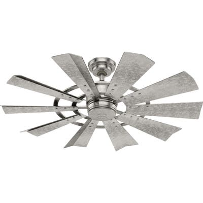 """Hunter 52"""" Crescent Falls Galvanized Outdoor Fan and Wall Control"""