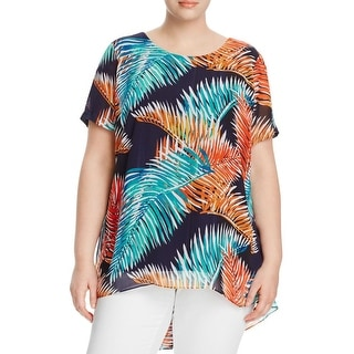 Vince Camuto Womens Plus Blouse Chiffon Printed
