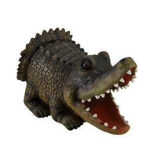 Open Mouth Alligator Decorative Gutter Downspout Extension Statue - brown