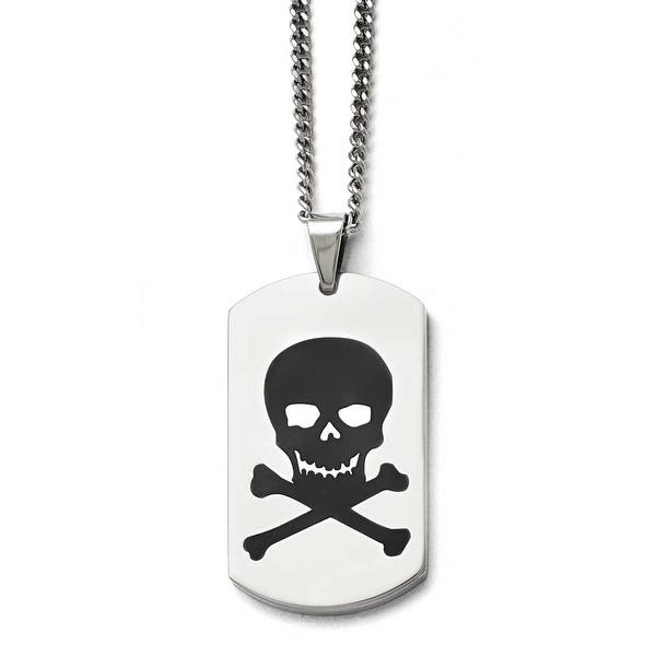 Chisel Stainless Steel Polished Black Enamel Skull Dogtag Necklace - 22 in