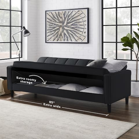 Olov Biscuit Tufted Convertible Sofa Bed 85 Inches Long With Storage