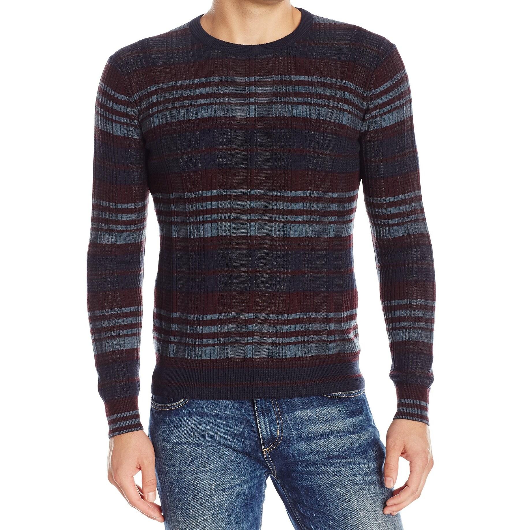 Perry Ellis NEW Blue Men Size XL Striped Knit Heather Crewneck Sweater
