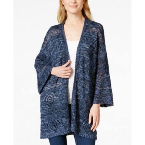 Style & Co Women's Kimono Sleeve Knit Cardigan Sweater Indigo Blue (XS)