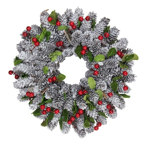 """10"""" Decorative Pine Cone with Berries and Stars Christmas Wreath - Unlit - brown"""