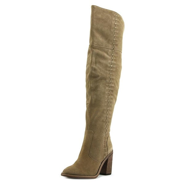 Vince Camuto Morra Women Round Toe Leather Tan Over the Knee Boot