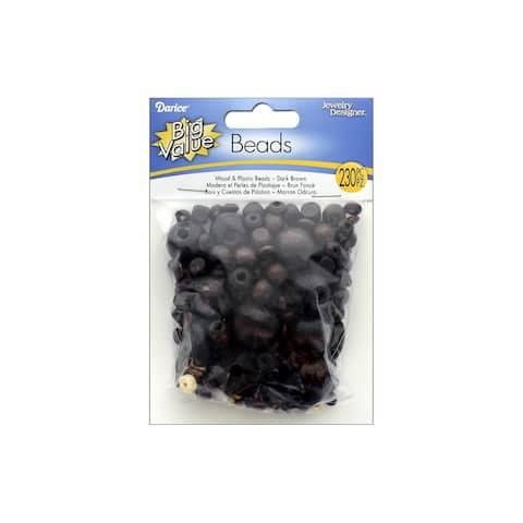 Darice Wood & Plastic Beads Astd Dk Brown 230pc - Medium