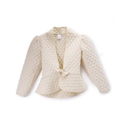 Little Girls Ivory Quilted Texture Single Bow Button Elegant Jacket
