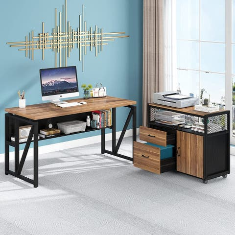Tribesigns L Shaped Desk with Drawer, 55 inches Executive Desk and lateral File Cabinet, 2 Piece Home Office Furniture Drawers