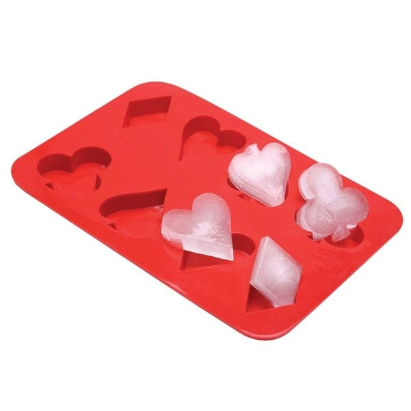 Playing Card Suits Ice Cube Tray - Exclusive From What On Earth - Red