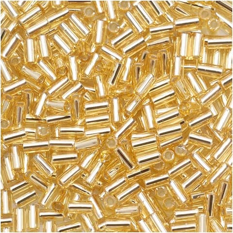 Toho Bugle Tube Beads Size 1 / 2x3mm Silver Lined Lt Topaz 8 Grams