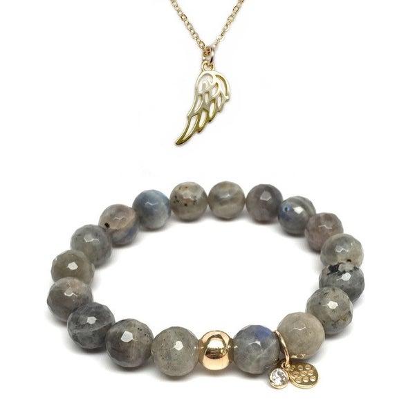 Grey Labradorite Bracelet & Angel Wing Gold Charm Necklace Set