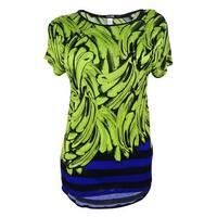 Kensie Women's Short Sleeve Top - Lime Combo - XS