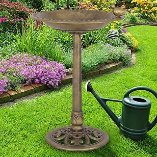 Costway Antique Gold Freestanding Pedestal Bird Bath Feeder Outdoor Garden Yard Decor