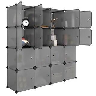 LANGRIA 16-Cube Modular Closet Storage Organizer Wardrobe with Hanging Rod (Grey)