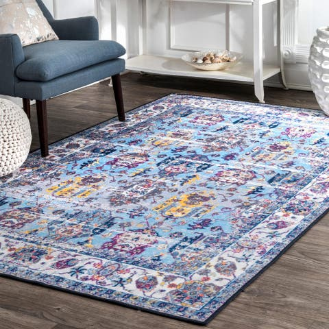 nuLOOM Light Blue Traditional Fading Bloom Area Rug