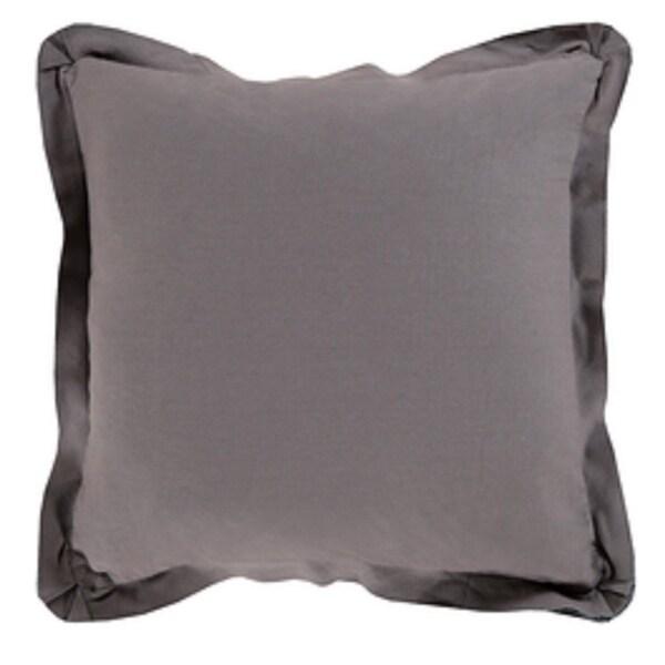 "18"" Dark Gray Flanged Trim Decorative Throw Pillow - Down Filler"