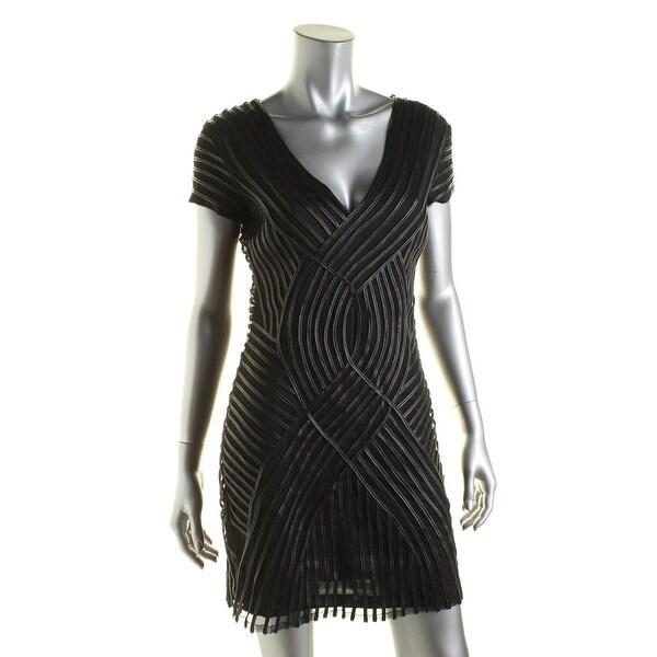 LRL Lauren Jeans Co. Womens Fabiana Cocktail Dress Mesh Cap Sleeves