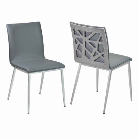 Leatherette Dining Chair with Geometric Back, Set of 2, Gray and Silver