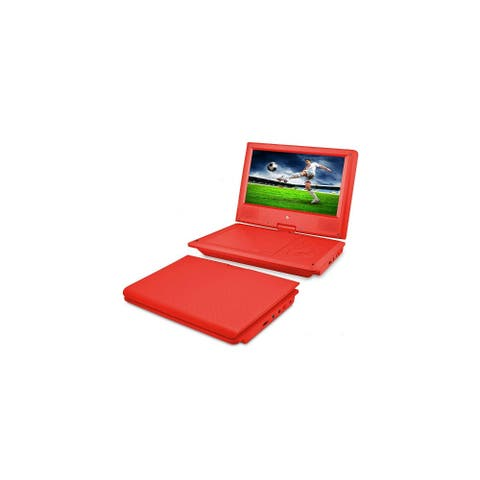 Ematic 9-Inch Swivel Portable DVD Player with Headphones and Bag - Red (EPD909RD) Ematic 9-Inch Swivel Portable DVD Player with
