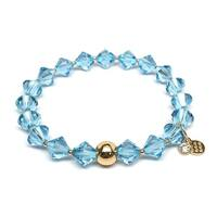 "March Birthstone Color Light Blue Crystal Rachel 7"" Bracelet"