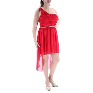 Womens Red Sleeveless Tea Length Hi-Lo Party Dress Size: 13