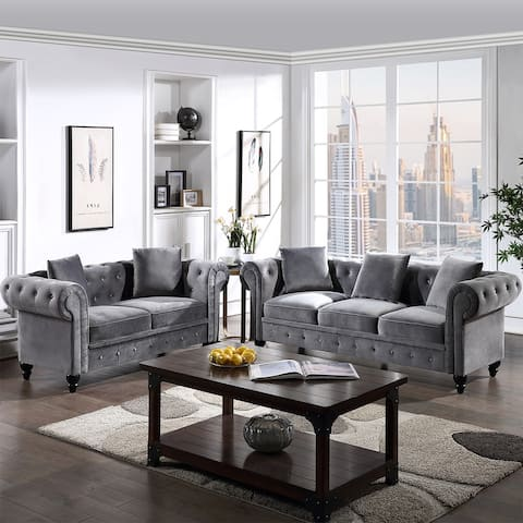 Merax 2 Pieces Classic Chesterfield Sofa Set, Tufted Velvet Upholstered Loveseat, 3 Seat Sofa Roll Arm, 5 Pillows Included