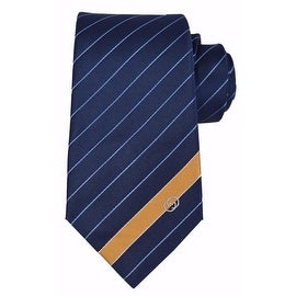 NEW Gucci Men's 408866 Blue Gold Woven Silk Interlocking GG Striped Neck Tie
