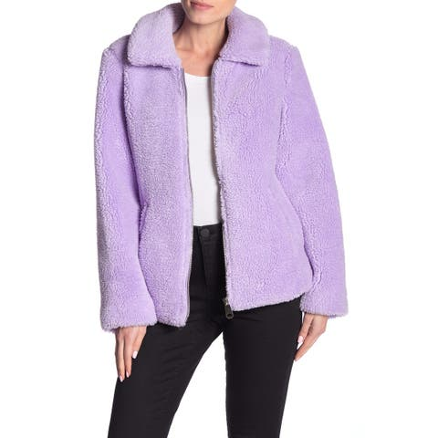 Sebby Purple Womens Size Medium M Faux Shearling Zip Front Jacket
