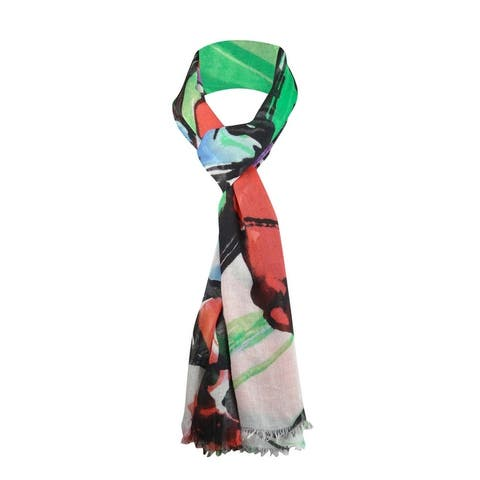 Collection Eighteen Women's Floral Print Fringe Scarf - One Size Fits Most