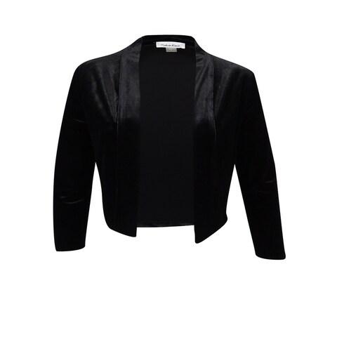 Calvin Klein Women's Petite Velvet Shrug - Black