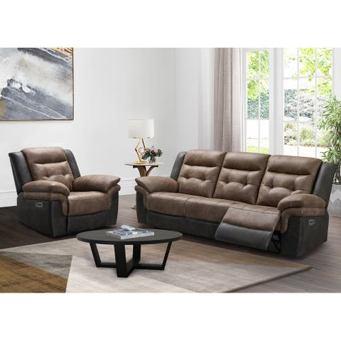 Abbyson Tacoma 2 Piece Two Tone Fabric Power Reclining Sofa and Recliner Set