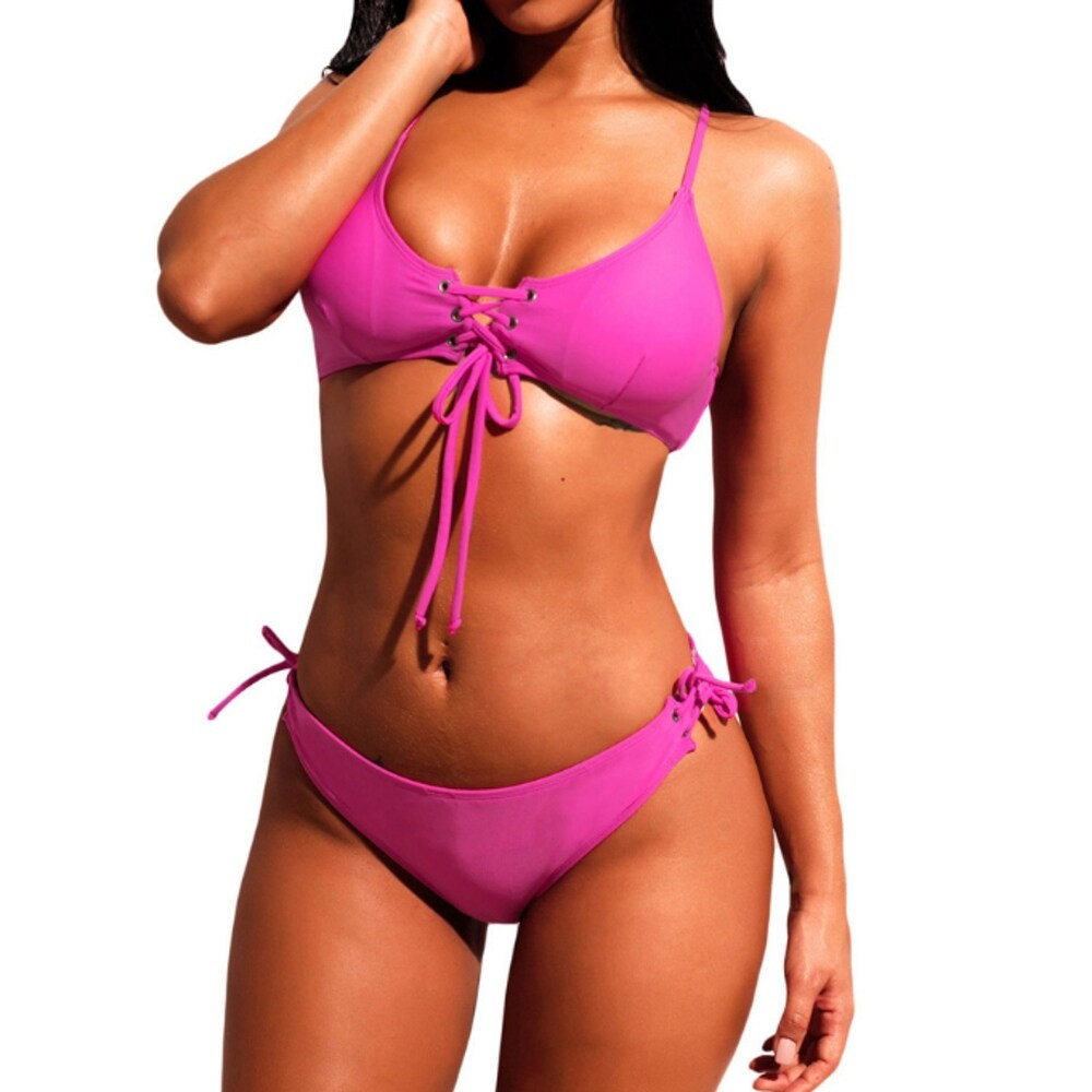 Womens Bikini Strappy Tie Front Cutout High Waist Thong Bikini Sets Swimsuits