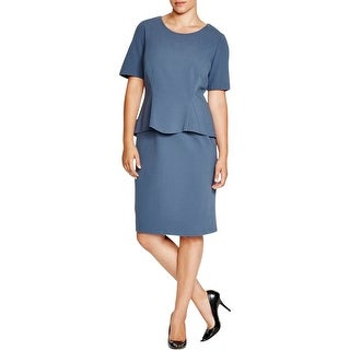 Lafayette 148 New York Womens Plus Cocktail Dress Ponte Short Sleeves