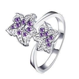 Duo-Purple Citrine Floral Petals Classic Ring