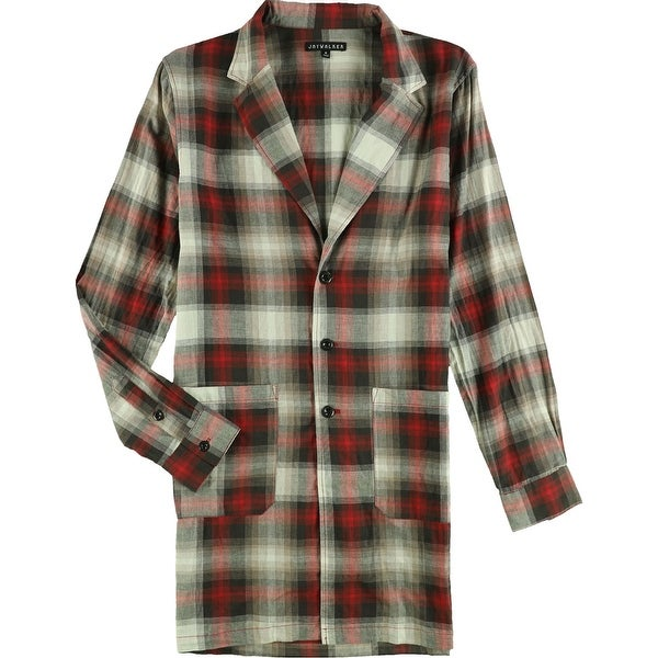 Jaywalker Mens Extended Button Up Shirt, Red, Medium. Opens flyout.