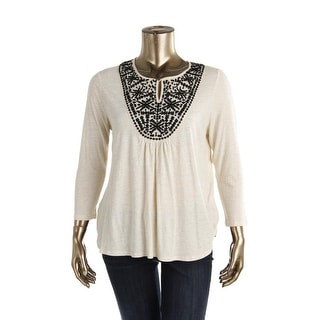 Lucky Brand Womens Embroidered 3/4 Sleeves Pullover Top - XL