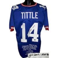 YA Tittle signed Blue TB Custom Stitched Pro Style Football Jersey HOF 71 w Embroidered Stats XL