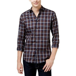 Vince Camuto Mens Button-Down Shirt Plaid Long Sleeves - M