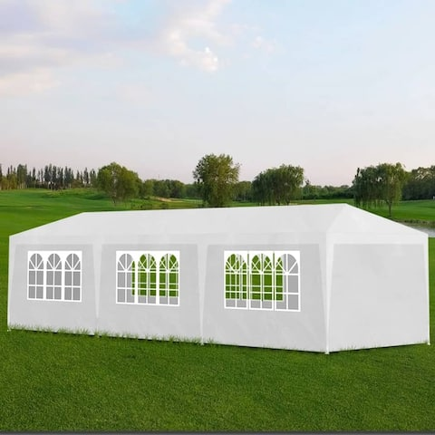 vidaXL Outdoor Party Tent 10'x30' White 8 Walls Canopy Gazebo Pavilion Cater