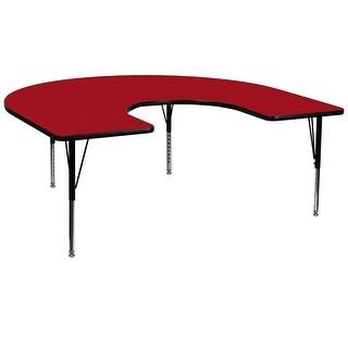 Fun & Games Activity Table 60''W x 66''L Horseshoe Red Thermal Laminate Adj Short Legs