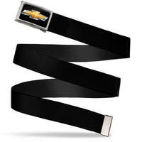 Chevy Bowtie Fcg Black Gold Chrome Black Webbing Web Belt