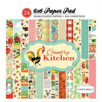 """Carta Bella Double-Sided Paper Pad 6""""X6"""" 24/Pkg-Country Kitchen, 12 Designs/2 Each"""