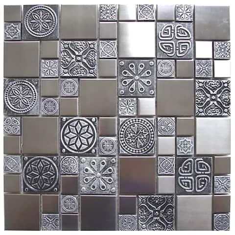Roman Pattern Steel Pewter Metal Tile 11.8x11.8 (11 tiles/10.63 Sqft)